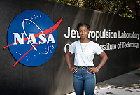 Occidental College student Tre'Shunda James '19 is a Jet Propulsion Laboratory Research Intern at NASA's JPL in Pasadena. Tre'Shunda is working with Dr. Renyu Hu studying oxygen in terrestrial exoplanet atmospheres and is also working on a project for the Undergraduate Research Center's Summer Research Program.<br /> Photo taken July 12, 2018.<br /> (Photo by Marc Campos, Occidental College Photographer)