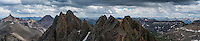 Panoramic view east from southeast couloir on Mt. Sneffels (14150 ft), San Juan mountains, Colorado, USA