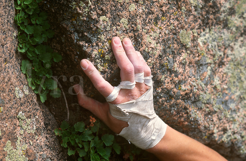 Detail of climbers hand in Colorado, USA.