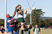 Peter White and Viliami Rarasea compete for the ball at an early lineout. Counties Manukau Premier Club Rugby 'Game of the Week' between Ardmore Marist and Manurewa played at Bruce Pulman Park Papakura or Saturday May 4th 2019. Ardmore Marist won the game 34 - 25 after leading 21 - 6 at halftime. <br /> Photo by Richard Spranger.