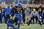 BROOKINGS, SD - NOVEMBER 11: Chase Vinatieri #4 from South Dakota State University kicks the game winning 43 yard field goal against Illinois State in overtime Saturday evening at Dana J. Dykhouse Stadium in Brookings, SD. (Photo by Dave Eggen/Inertia)