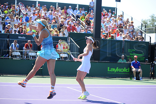 21.03.2014. Key Biscayne, Miami, Florida. Sony Open tennis Championships.  Martina Hingis (SUI)<br /> Sabine Lisicki (ALL)