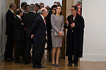 Queen Letizia of Spain and Finance Minister Cristobal Montoro during the delivery of the XXVII Edition of Tomas Francisco Prieto Award to Japanese artist Mitsuo Miura in Madrid, Spain. January 20, 2017. (ALTERPHOTOS/BorjaB.Hojas)