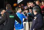 St Johnstone v Motherwell....25.02.14    SPFL<br /> Steven MacLean celebrates his first goal with physio Fearghal Kerin<br /> Picture by Graeme Hart.<br /> Copyright Perthshire Picture Agency<br /> Tel: 01738 623350  Mobile: 07990 594431