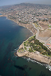 Aerial view over San Pedro and the Palos Verde Peninsula, Los Angeles, CA
