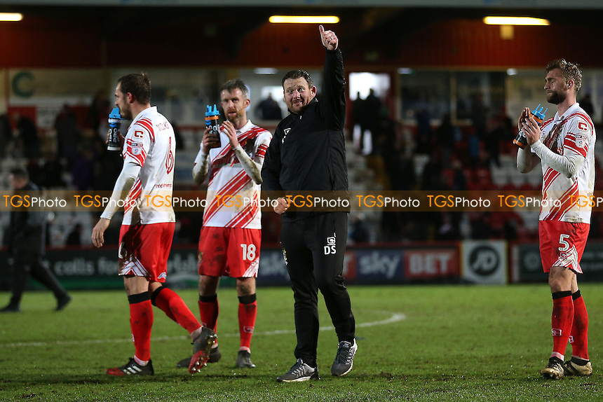 Stevenage manager Darren Sarll thanks the fans after Stevenage vs Leyton Orient, Sky Bet EFL League 2 Football at the Lamex Stadium on 28th February 2017