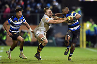 Aled Brew of Bath Rugby fends Joe Launchbury of Wasps. Aviva Premiership match, between Bath Rugby and Wasps on December 29, 2017 at the Recreation Ground in Bath, England. Photo by: Patrick Khachfe / Onside Images