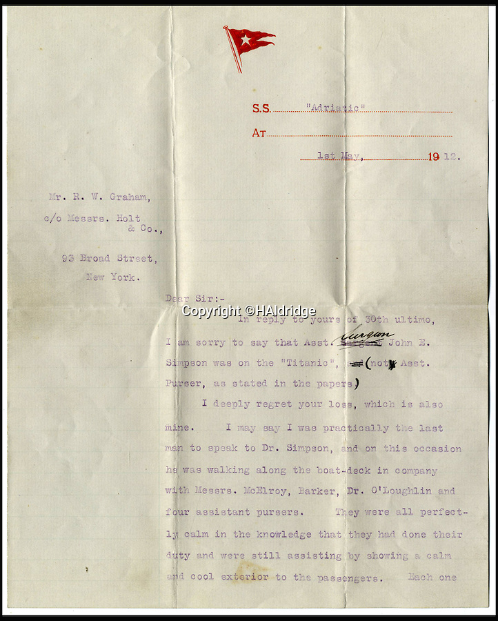 BNPS.co.uk (01202 558833)<br /> Pic: H.Aldridge/BNPS<br /> <br /> Sold for £34,000 - Lightoller letter revealing stoic attitude of the crew.<br /> <br /> A letter from the most senior officer to survive the disaster and last survivor taken on board the rescue ship Carpathia Charles Lightoller. <br /> <br /> The stoicism and bravery of the doomed crew of the Titanic can be told after a remarkable eye-witness account by the most senior surviving officer emerged for the first time.<br /> <br /> As the liner sank after hitting an iceberg, second officer Charles Lightoller wrote of how he bumped into eight colleagues who were walking<br /> calmly on deck to reassure panicked passengers.<br /> <br /> Accepting their impending fate, the men then all shook hands with the officer with the words 'goodbye old man' before they were washed overboard minutes later.