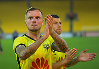Phoenix's David Ball thanks fans after the A-League football match between Wellington Phoenix and Brisbane Roar at Westpac Stadium in Wellington, New Zealand on Saturday, 23 November 2019. Photo: Dave Lintott / lintottphoto.co.nz