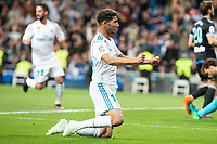 Real Madrid Achraf Hakimi celebrating a goal during La Liga match between Real Madrid and Celta de Vigo at Santiago Bernabeu Stadium in Madrid, Spain. May 12, 2018. (ALTERPHOTOS/Borja B.Hojas) /NORTEPHOTOMEXICO