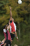 Taiasina Tuifua goes high in a lineout. Counties Manukau Steelers vs North Harbour warm-up rugby game played at Growers Stadium on Saturday 7th of July 2007.