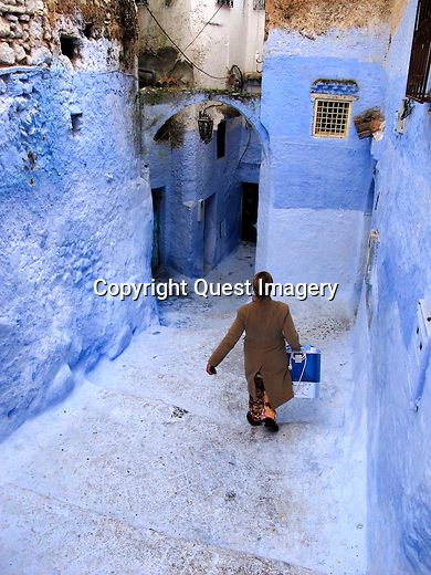 Chefchaouen or Chaouen is a city in northwest Morocco. It is the chief town of the province of the same name, and is noted for its buildings in shades of blue.<br /> Photo by Deirdre Hamill/Quest Imagery