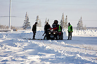 01874-11711 Polar Bear (Ursus maritimus) biologists preparing to airlift bear from Polar Bear Compound, Churchill MB