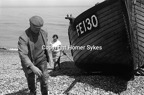 Fisherman and wife with boat Dungeness Kent England 1969.<br />
