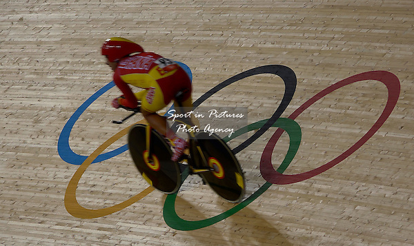 Sebastian Mora Vedri (ESP, Spain) rides over the Olympic rings. Track Cycling - PHOTO: Mandatory by-line: Garry Bowden/SIP/Pinnacle - Photo Agency UK Tel: +44(0)1363 881025 - Mobile:0797 1270 681 - VAT Reg No: 768 6958 48 - 02/08/2012 - 2012 Olympics - Olympic Velodrome, London, England