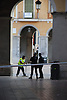 evacuated and off cordoned area of Plaza Mayor (main square) where exploded the third bom of 9th of august 2009<br /> <br /> Cord&oacute;n Nacional de Policia: No pasar - a la Plaza Mayor de Palma de Mallorca, donde explot&oacute; la tercera bomba del 09.08.2009<br /> <br /> Polizei-Absperrung der Plaza Mayor, wo die dritte Bombe des 09.08.2009 explodierte