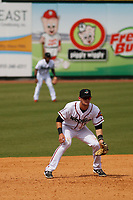 Down East Wood Ducks third baseman Josh Altmann (5) in the field during a game against the Salem Red Sox at Grainger Stadium on April 16, 2017 in Kinston, North Carolina. Salem defeated Down East 9-2. (Robert Gurganus/Four Seam Images)