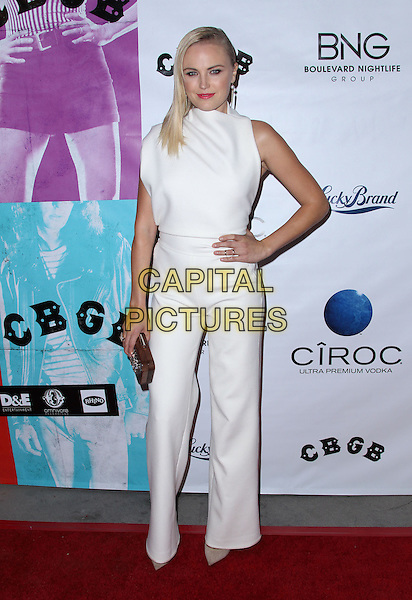 Malin Akerman<br /> The West Coast Screening of 'CBGB' held at The Arclight in Hollywood, California, USA.<br /> October 1st, 2013<br /> full length white sleeveless jumpsuit hand on hip wood wooden clutch bag<br /> CAP/ADM/KB<br /> &copy;Kevan Brooks/AdMedia/Capital Pictures