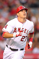 Los Angeles Angels outfielder Mike Trout #27 runs the bases against the Baltimore Orioles at Angel Stadium on August 20, 2011 in Anaheim,California. Los Angeles defeated Baltimore 9-8.(Larry Goren/Four Seam Images)