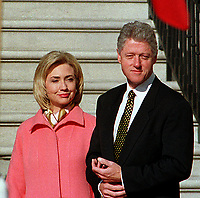 ***FILE PHOTO*** Bill Clinton Has Not Apologized To Monica Lewinsky And Claims Did The Right Thing Staying In Office.<br /> <br /> United States President Bill Clinton and first lady Hillary Rodham Clinton prepare to greet President Jiang Zemin of China who will arrive for a State Visit to the White House in Washington, D.C. on October 29, 1997.<br /> CAP/MPI/RS<br /> &copy;RS/MPI/Capital Pictures