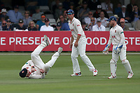 Simon Harmer of Essex takes a tumble in the slips during Essex CCC vs Yorkshire CCC, Specsavers County Championship Division 1 Cricket at The Cloudfm County Ground on 7th July 2019