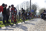 Riders including Manuel Quinziato (ITA) BMC Racing Team summit the Taaienberg 18% cobbled climb during the 60th edition of the Record Bank E3 Harelbeke 2017, Flanders, Belgium. 24th March 2017.<br /> Picture: Eoin Clarke | Cyclefile<br /> <br /> <br /> All photos usage must carry mandatory copyright credit (&copy; Cyclefile | Eoin Clarke)