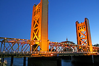 Evening lighting Tower Bridge in Old Sacramento California