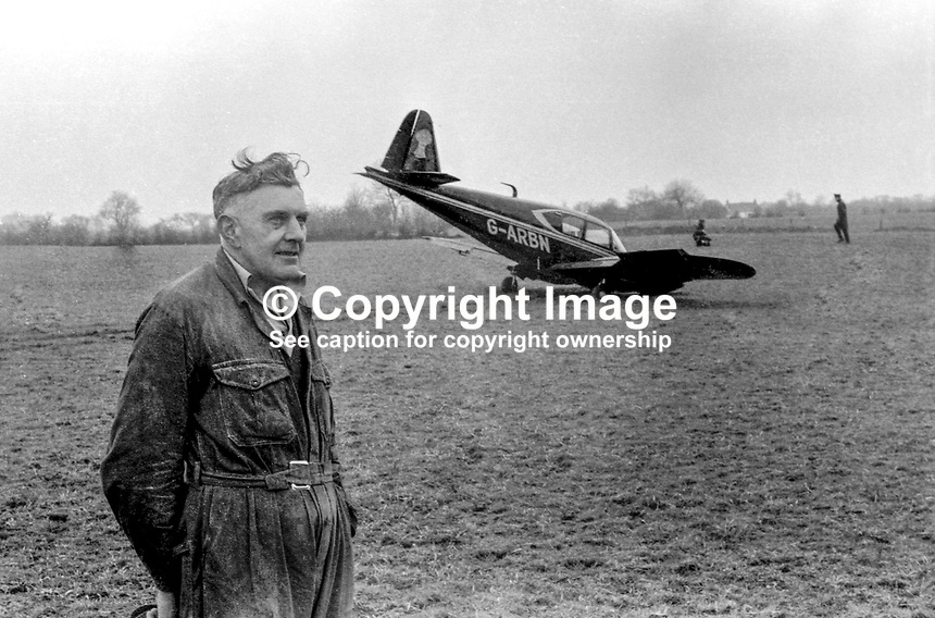 The twin-engined light aircraft, a Piper Apache, which made an emergency landing just a few miles short of Aldergrove Airport, near Belfast, N Ireland, 8th April 1977. The four passengers were the Duchess of Westminster, her son, Earl Grosvenor, the Earl of Belmore and Richard Boardman from Chester. The duchess is the wife of one of the UK&rsquo;s richest men. The farmer, David Scott, and his wife, treated the party to tea and buns until a Fermanagh-registered Rolls-Royce arrived to whisk the party to Ely Lodge for Easter. 197704080325<br />