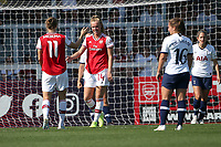 Jill Roord of Arsenal (14) scores the sixth goal for her team and celebrates with her team mates during Arsenal Women vs Tottenham Hotspur Women, Friendly Match Football at Meadow Park on 25th August 2019