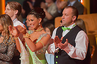 Farmer Szilveszter and Andrea Molnar dance in the live broadcast celebrity dancing talent show Saturday Night Fever by Hungarian television company RTL II in Budapest, Hungary on March 16, 2013. ATTILA VOLGYI