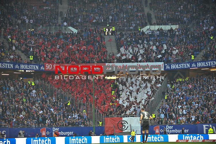 08.05.2015,  Imtech Arena, Hamburg, GER, 1. FBL, Hamburger SV vs SC Freiburg, im Bild die Kurve der Freiburger Fans zu Spielbeginn<br /> Foto &copy; nordphoto / Witke *** Local Caption ***