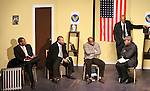 Guiding Light's Lawrence Saint-Victor, author Layon Gray, Thom Scott II star in Black Angels Over Tuskegee on January 24, 2011 at the Actors Temple Theatre, New York City, New York. (Photo by Sue Coflin/Max Photos)