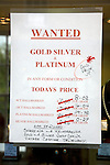 Sign wanted gold, silver, platinum with prices