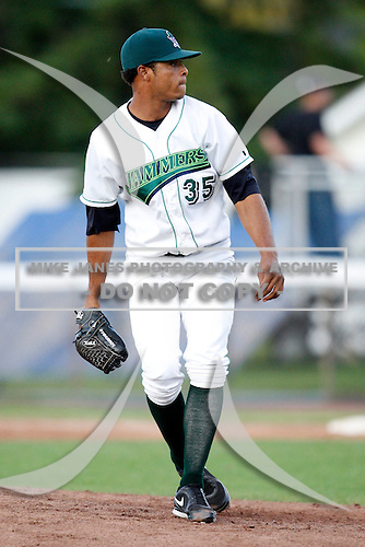 July 16, 2009:  Pitcher Ramon Benjamin of the Jamestown Jammers delivers a pitch during a game at Russell Diethrick Park in Jamestown, NY.  The Jammers are the NY-Penn League Short-Season Single-A affiliate of the Florida Marlins.  Photo By Mike Janes/Four Seam Images