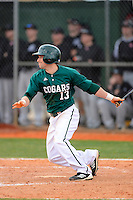 Chicago State University Cougars outfielder Nathan Poff #13 during a game against the Muskingum Fighting Muskies at South County Regional Park on March 3, 2013 in Punta Gorda, Florida.  (Mike Janes/Four Seam Images)