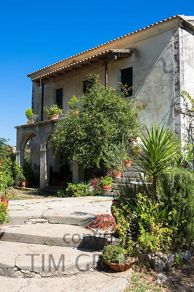 Typical Corfiot grand house in Perithia, Northern Corfu, Greece