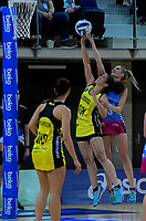 Sulu Fitzpatrick intercepts a pass to Te Paea Selby-Rickit during the ANZ Premiership netball match between the Central Pulse and Southern Steel at Te Rauparaha Arena in Wellington, New Zealand on Wednesday, 30 May 2018. Photo: Dave Lintott / lintottphoto.co.nz