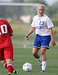 BROOKINGS, SD - AUGUST 16:  Caylee Costello #23 from South Dakota State University controls the ball against Winnipeg in the first half of their game Friday evening at Fischback Soccer Field in Brookings. (Photo by Dave Eggen/Inertia)