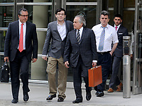 ***FILE PHOTO*** Martin Shkreli Sentenced To<br />  7 Years In Prison For Securities Fraud***<br /> NEW YORK, NY - AUGUST 3: Former Turing Pharmaceuticals CEO Martin Shkreli, with attorney Benjamin Brafman, smiles as he exits the United States Federal courthouse after day four of deliberations in his federal securities fraud trial on August 3, 2017 in New York City. <br /> CAP/MPI01<br /> &copy;MPI01/Capital Pictures