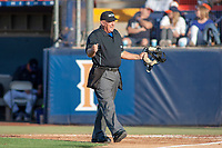 Home plate umpire Tony Walsh in action during the game between the University of Washington Huskies and the Cal State Fullerton Titans at Goodwin Field on June 10, 2018 in Fullerton, California. The Huskies defeated the Titans 6-5. (Donn Parris/Four Seam Images)