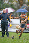 Vernon Comley attempts to convert one of the Patumahoe tries. Counties Manukau Premier Club Rugby game between Patumahoe and Bombay played at the Patumahoe Domain on Saturday June 4th 2011 as part of the Patumahoe 125th Anniversary celebrations. Patumahoe won 24 - 3 after leading 5 - 3 at halftime.