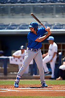 Dunedin Blue Jays Ryan Noda (19) during a Florida State League game against the Charlotte Stone Crabs on April 17, 2019 at Charlotte Sports Park in Port Charlotte, Florida.  Charlotte defeated Dunedin 4-3.  (Mike Janes/Four Seam Images)