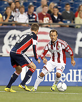Chivas USA substitute midfielder Laurent Courtois (16) dribbles. In a Major League Soccer (MLS) match, the New England Revolution tied Chivas USA, 3-3, at Gillette Stadium on August 29, 2012.