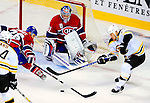 22 November 2008: Montreal Canadiens' goaltender Carey Price in action during the first period against the Boston Bruins at the Bell Centre in Montreal, Quebec, Canada.  After a 2-2 regulation tie and a non-scoring 5-minute overtime period, the Boston Bruins scored the lone shootout goal thus defeating the Canadiens 3-2. The Canadiens, celebrating their 100th season, honored former Montreal goaltender Patrick Roy, and retired his jersey (Number 33) during pre-game ceremonies. ***** Editorial Use Only *****..Mandatory Photo Credit: Ed Wolfstein Photo *** Editorial Sales through Icon Sports Media *** www.iconsportsmedia.com