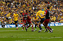Matt Green of Oxford United scores the first goal during the Blue Square Premier play-off final between Oxford United and York City at Wembley Stadium, London on 16th May,2010.© Kevin Coleman 2010
