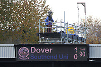 The scoreboard above the home end shows the final score during Dover Athletic vs Southend United, Emirates FA Cup Football at the Crabble Athletic Ground on 10th November 2019