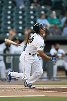 Center fielder Edgardo Fermin (10) of the Columbia Fireflies bats during a game against the Charleston RiverDogs on Wednesday, August 29, 2018, at Spirit Communications Park in Columbia, South Carolina. Charleston won, 6-1. (Tom Priddy/Four Seam Images)