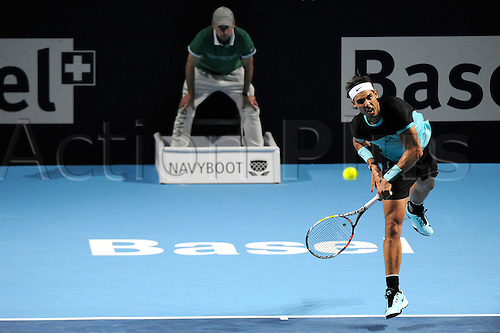 30.10.2015. Basel, Switzerland. Basel Swiss Indoor Tennis Championships. Day Six Rafael Nadal in action in the match between Rafael Nadal of Spain and Marin Cilic of Croatia