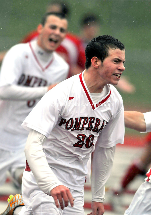 SOUTHBURY, CT, 16 NOVEMBER 2011-111611JS03-Pomperaug's Nicholas Lasewicz (20) celebrates his goal in their 1-0 win over Fairfield Prep in their Class LL state tournament game Wednesday at Pomperaug High School. <br />  Jim Shannon Republican-American