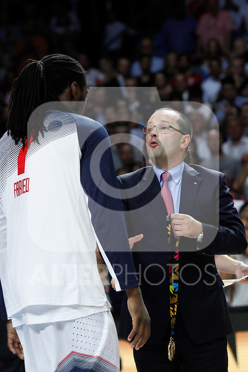 United State´s Faried receives the golden medal during FIBA Basketball World Cup Spain 2014 final award ceremony after winning against Serbia at `Palacio de los deportes´ stadium in Madrid, Spain. September 14, 2014. (ALTERPHOTOSVictor Blanco)